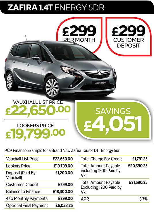 Vauxhall Zafira Energy from £299 per month / £299 customer deposit