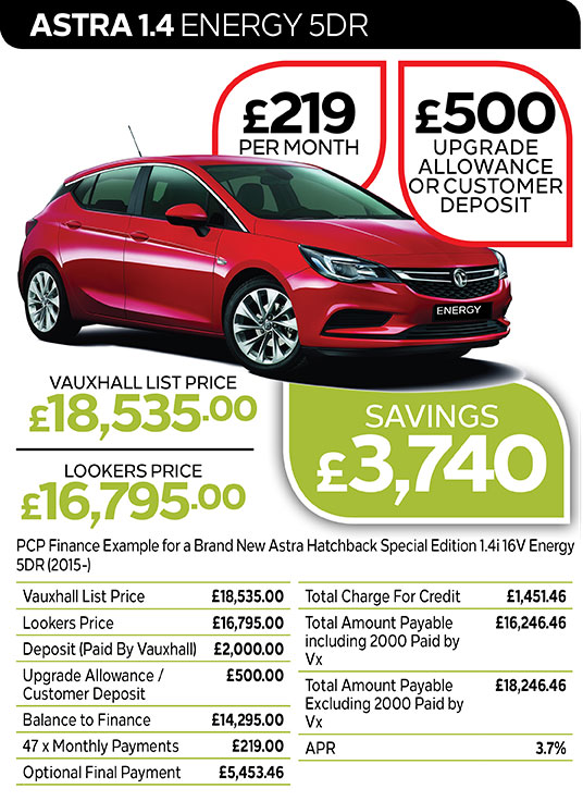 Vauxhall Astra Energy from £219 per month / £500 customer deposit or upgrade allowance