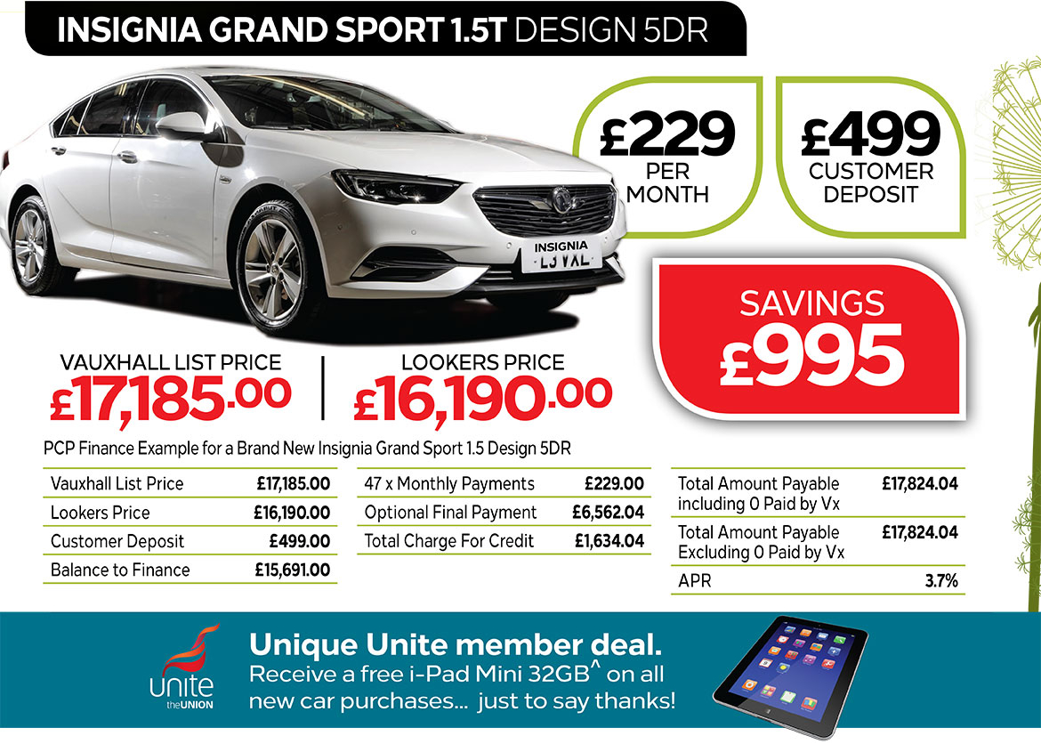 Vauxhall Insignia Grand Sport Design from £299 per month / £499 customer deposit