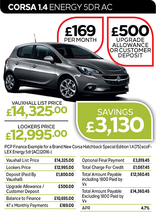 Vauxhall Corsa Energy 5DR from £169 per month / £500 customer deposit or upgrade allowance