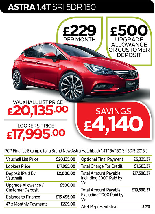 Vauxhall Astra SRi from £229 per month / £500 customer deposit or upgrade allowance