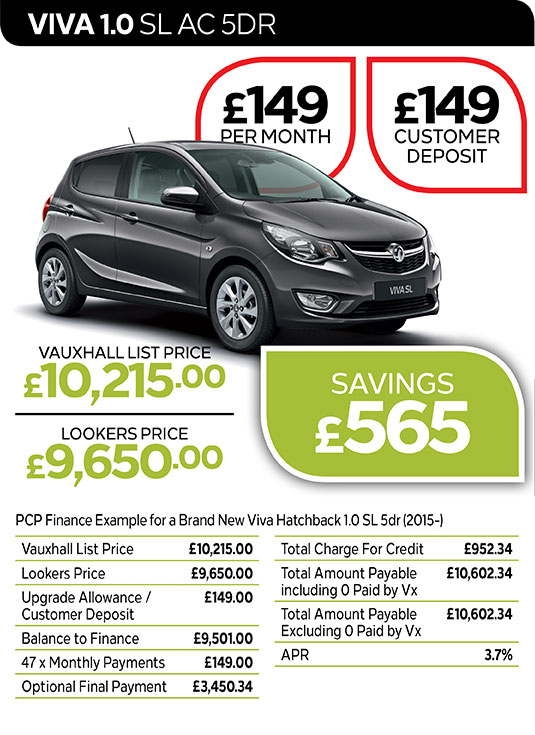 Vauxhall Viva SL from £149 per month / £149 customer deposit