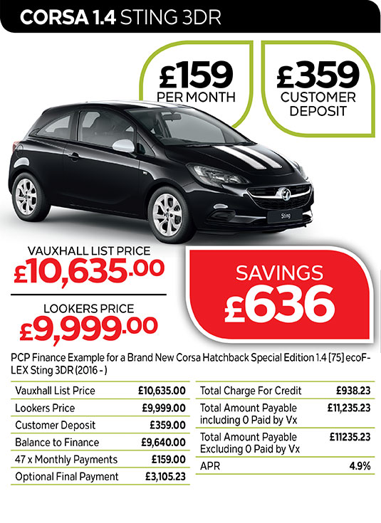 Vauxhall Corsa Sting from £159 per month / £359 customer deposit