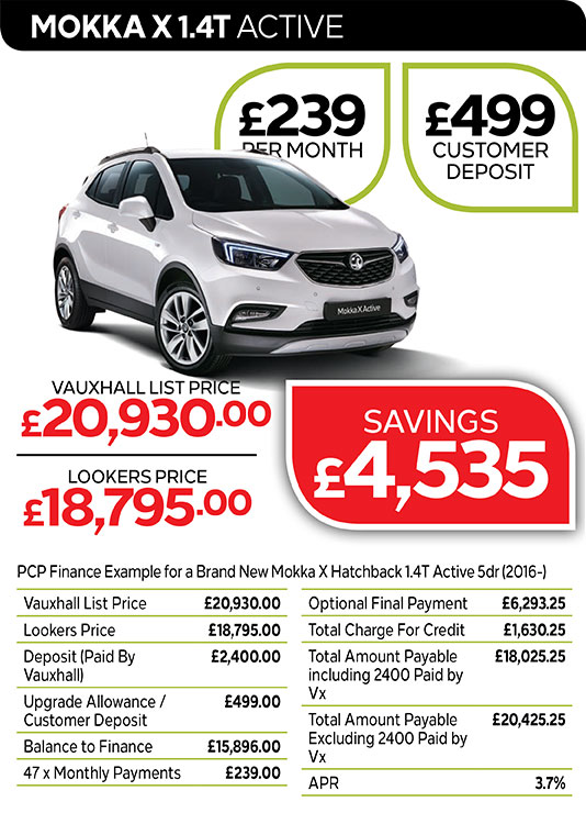 Vauxhall Mokka X Active from £239 per month / £499 customer deposit