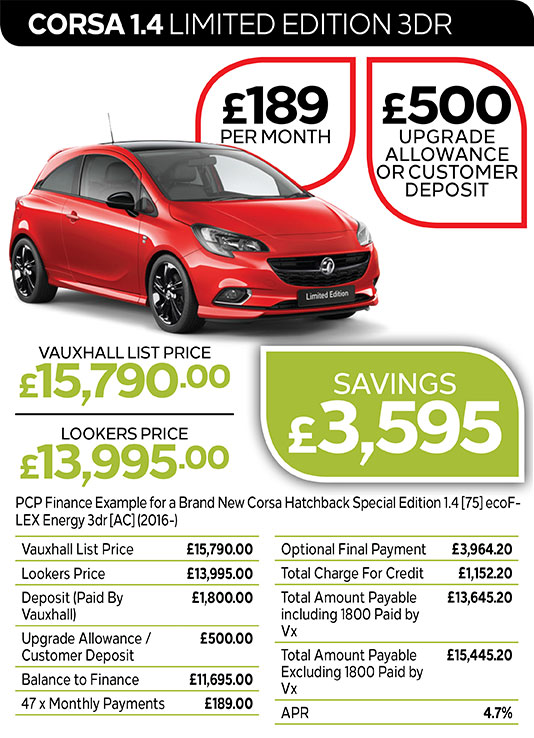 Vauxhall Corsa Limited Edition 3DR from £189 per month / £500 customer deposit or upgrade allowance