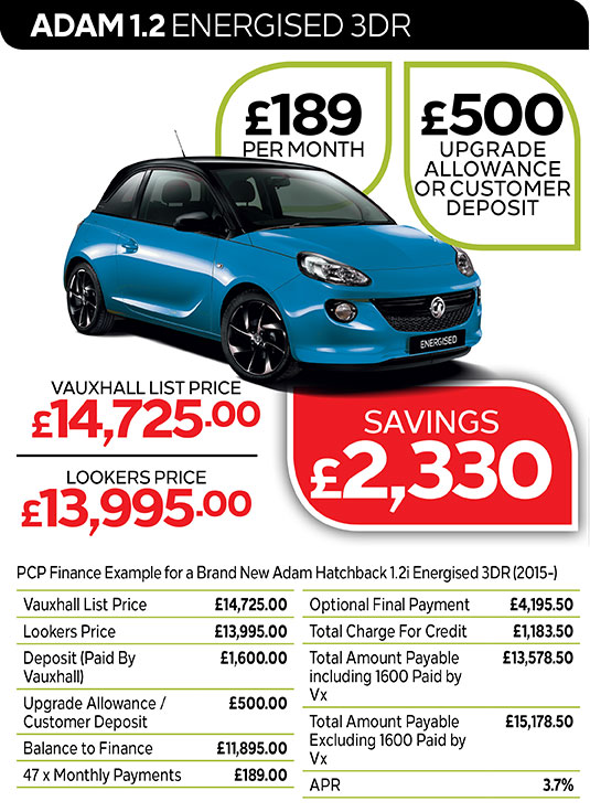 Vauxhall ADAM ENERGISED from £189 per month / £500 customer deposit or upgrade allowance