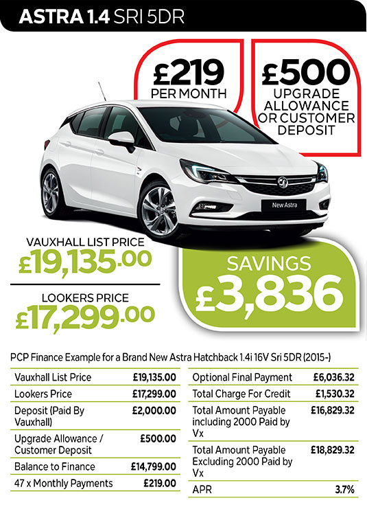 Vauxhall Astra SRi from £219 per month / £500 customer deposit or upgrade allowance