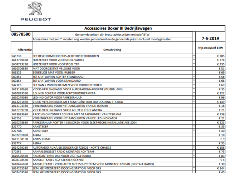 Prijslijst accessoires Peugeot Boxer