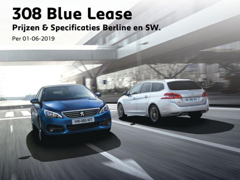 Prijslijst Peugeot 308 berline en SW Blue Lease