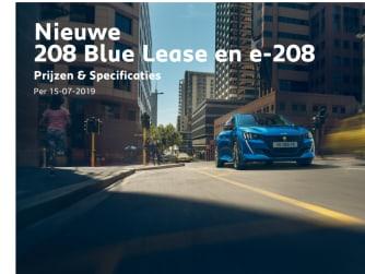Prijslijst Peugeot 208 Blue Lease en e-208