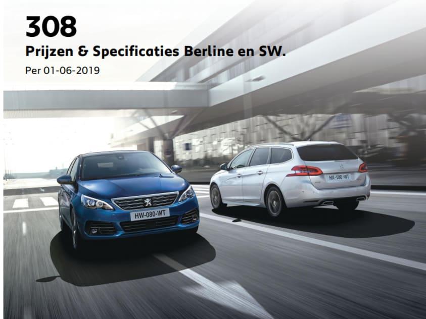 Prijslijst Peugeot 308 berline en SW