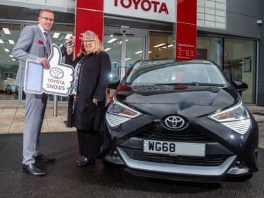 0c31ac6431 Snows Toyota Exeter are Aygo with our Princesshay Car Raffle Winner!