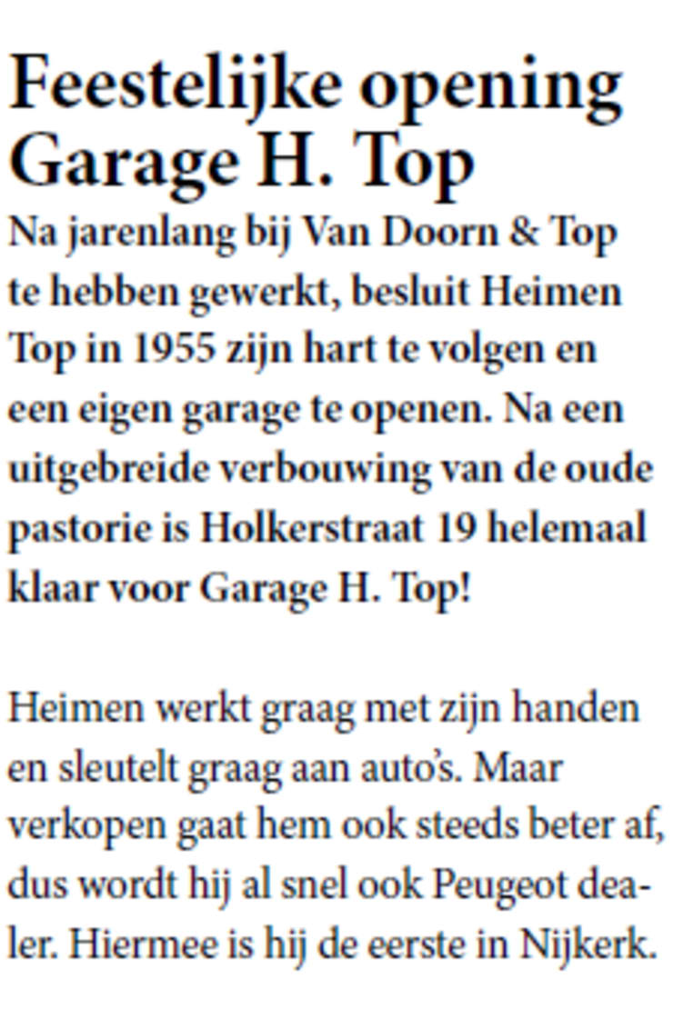 Krantenknipsel opening auto garage H Top geopend in 1955