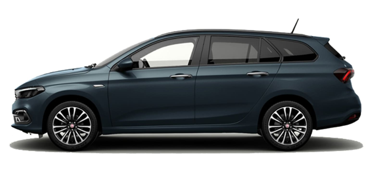 Blue Fiat Tipo Station Wagon Side View