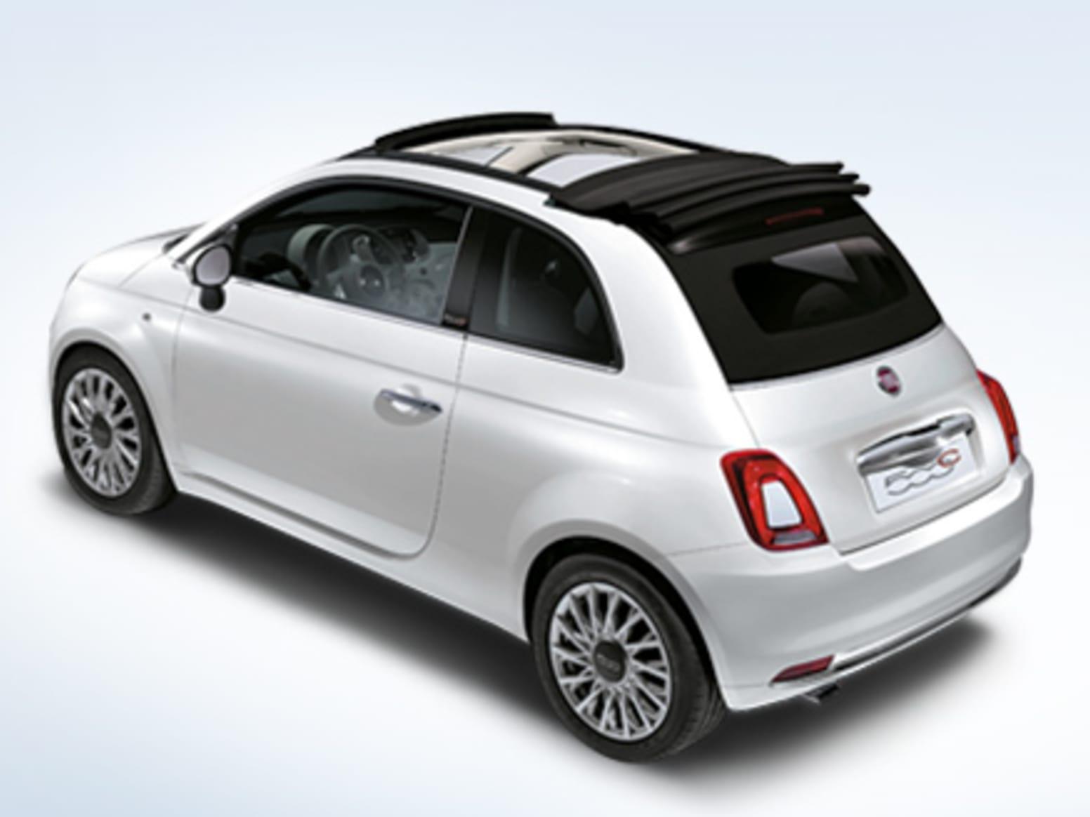 White Fiat 500C Rear Exterior