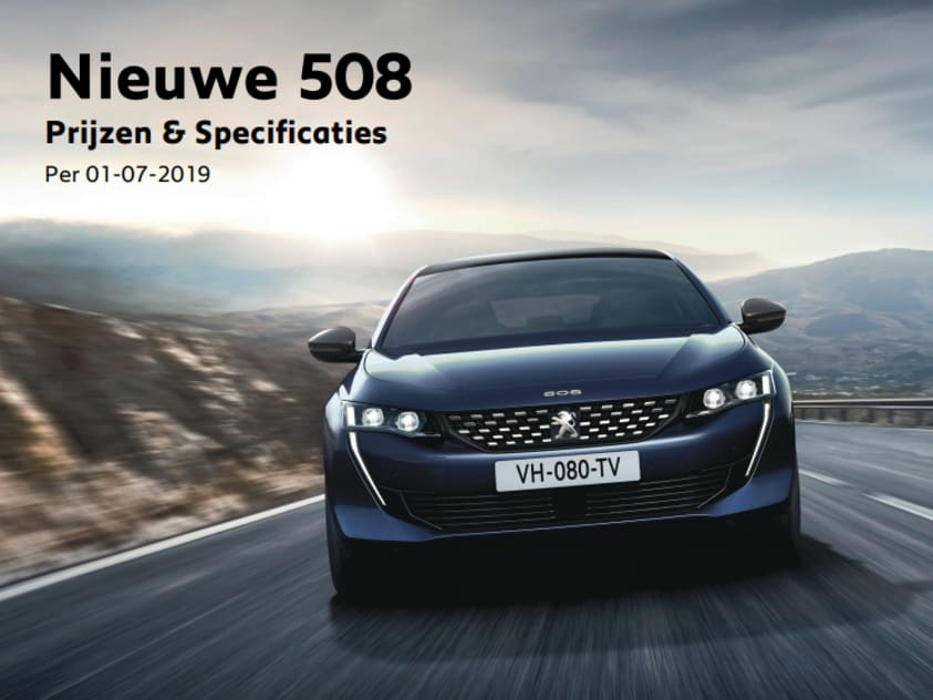 Prijslijst Peugeot 508
