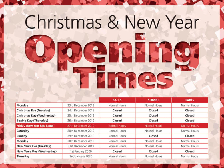 Desira Group Christmas New Year Opening Times 2019