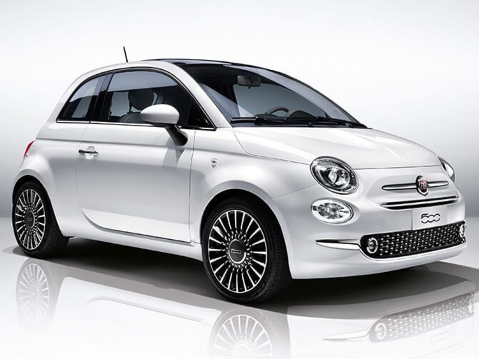 White Fiat 500 Front