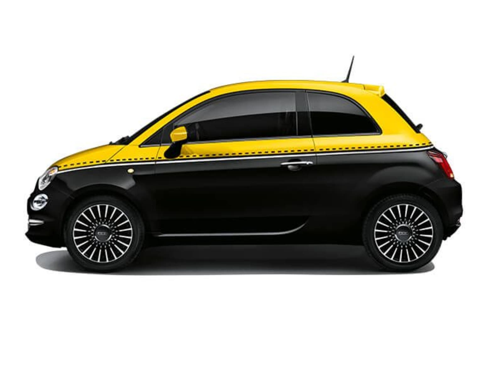 Yellow and Black Fiat 500 Side Exterior