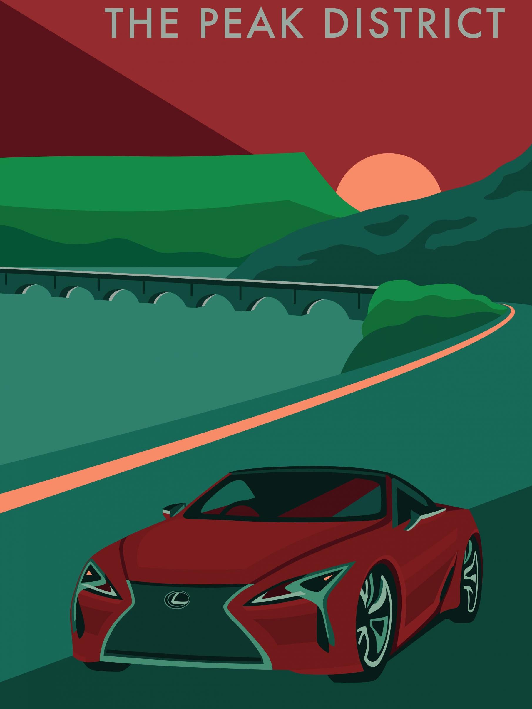 Lexus LC Convertible travel poster - UK