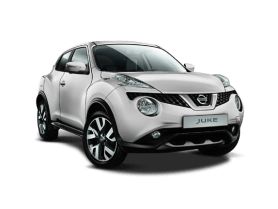 Front View of White Nissan Juke