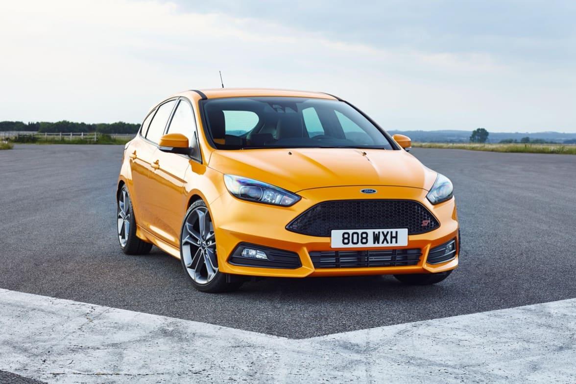 Front Exterior Shot Of Orange Ford Focus St