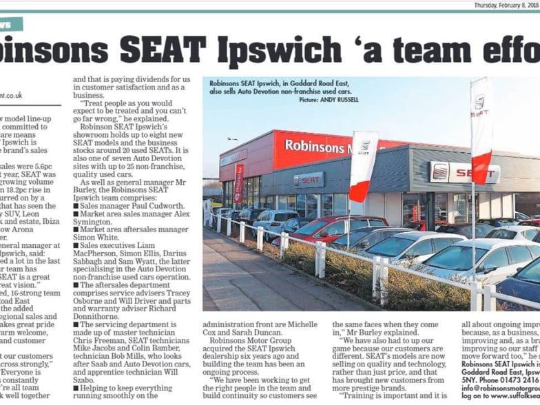 Robinsons SEAT Ipswich 'a team effort' | Robinsons SEAT