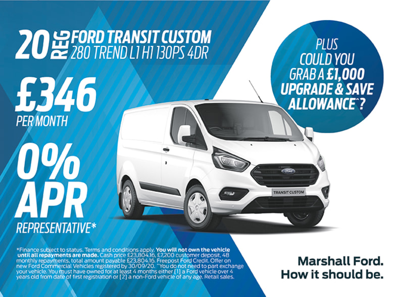 Ford Transit Custom Exclusive Offers Marshall Motor Group