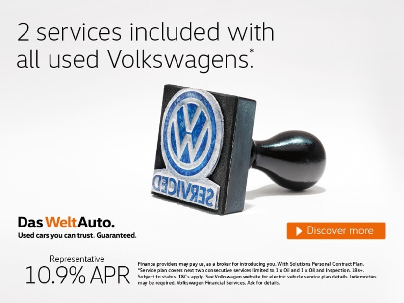 2 FREE services with Volkswagen Das Welt Auto approved used cars