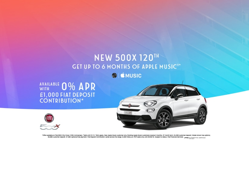 Get up to 6 months of Apple Music with the Fiat 500 120th
