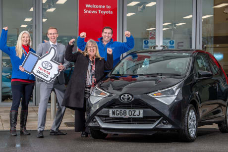 0444958f8c Our lucky winner was handed the car keys when she picked up her new AYGO  from our Snows Toyota showroom at Matford Way