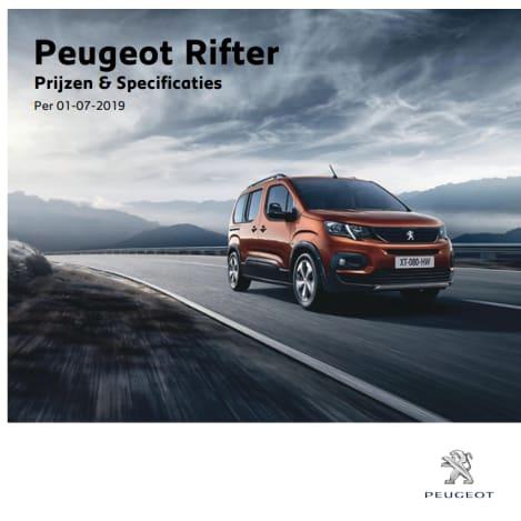 Prijslijst Peugeot Rifter
