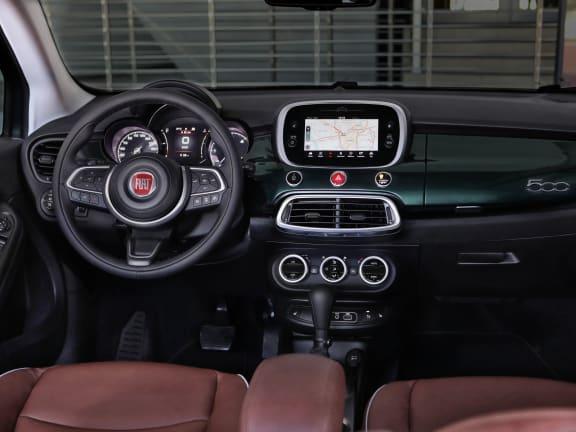 Interior of a white Fiat 500X