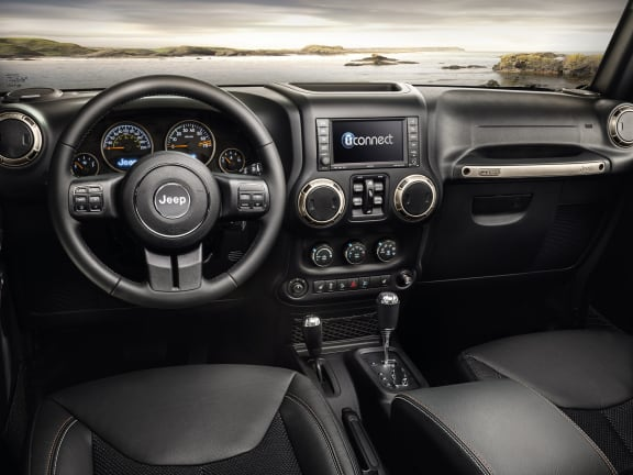 Interior of a Black Jeep Wrangler