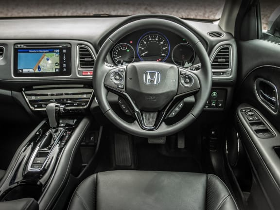 Interior of a white Honda HR-V