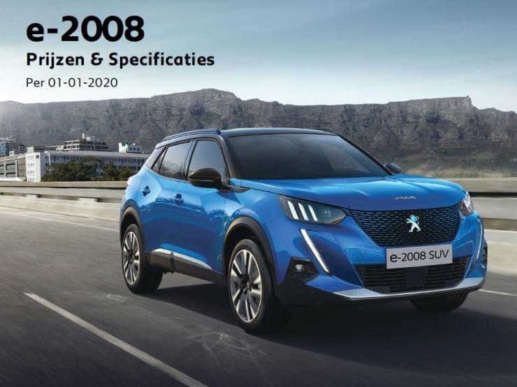 Prijslijst Peugeot e-2008