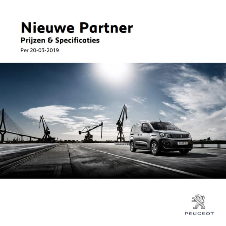 Prijslijst Peugeot Partner