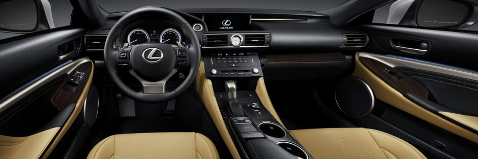 lexus rc interior. the sportiness of lexus rc continues inside with a seamless blend contrasting shades smooth leather seats and innovative lighting rc interior